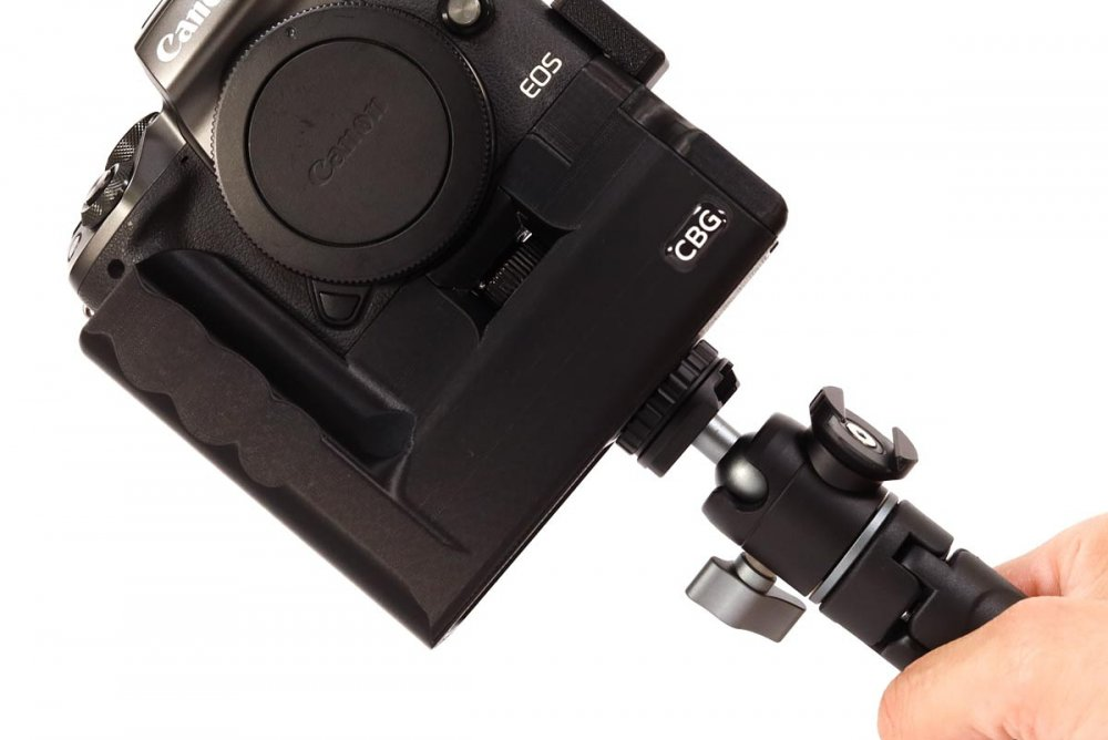 Battery Grip with extra cold shoe for Canon EOS M5 by CustomBatteryGrips